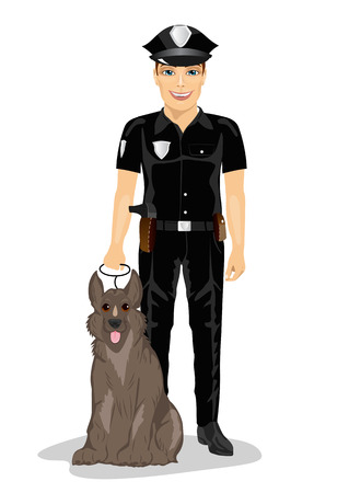Policeman standing with police dog smiling over a white background Illustration