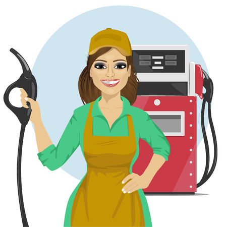 Poste de station-service ouvrant une pompe à essence à côté du distributeur de carburant