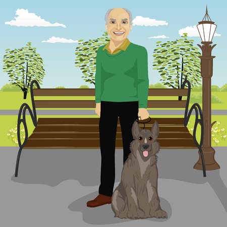 man looking out: elderly man and his dog in park in the summer Illustration