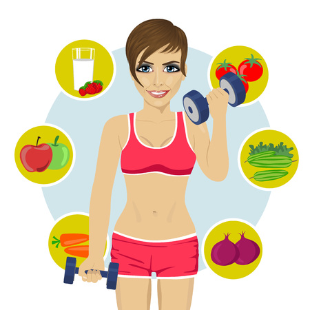sporty young woman with dumbbells and variety of healthy fruits
