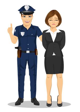 handcuffs female: Policeman arresting a businesswoman. White collar criminal isolated white background Illustration