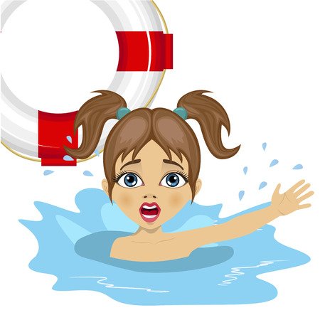 somebody: little girl screaming in water while somebody throws a ring buoy lifebuoy