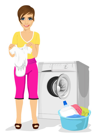 mother holding baby: young mother holding baby vest standing next to a washing machine Illustration