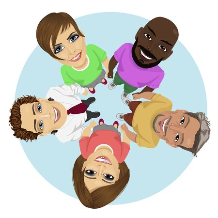 Group of multiracial young people in a circle looking up holding their hands together over white background Illustration