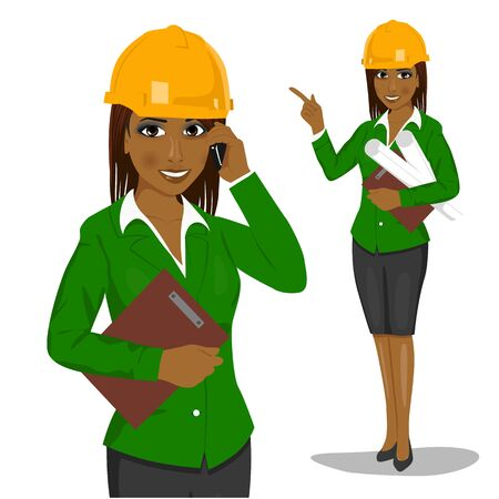 female african american architect wearing yellow safety helmet holding blueprints and clipboard talking on the phone