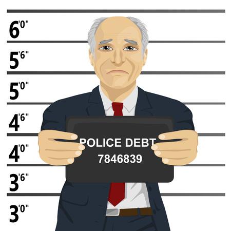 Arrested senior businessman posing for a mugshot holding a signboard Vektorové ilustrace