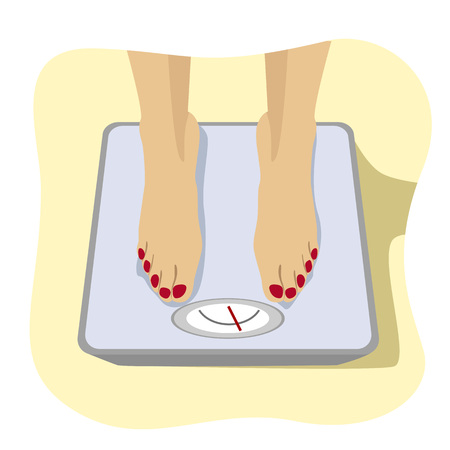 scale up: Close up of female feet standing on a weight scale. Concept of weight loss, healthy lifestyles, diet, proper nutrition. Illustration