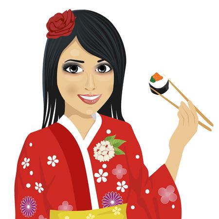 beautiful eating: beautiful japanese woman wearing kimono eating sushi with chopsticks isolated over white background Illustration