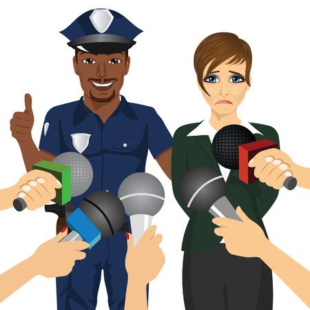 policeman arresting a white collar corrupt businesswoman while journalist interviewing him