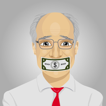 senior businessman with a dollar bill taped to mouth. Bribery concept in politics, business, diplomacy.