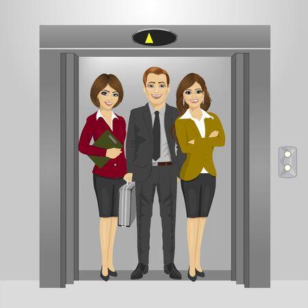 junge Geschäftsleute, die zusammen in Bürogebäude Aufzug stehen