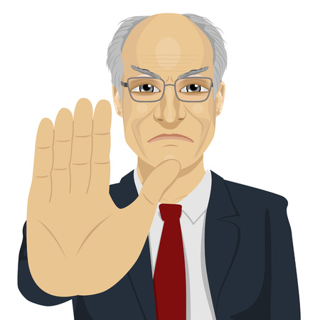denial: angry senior businessman with glasses showing stop gesture over white background