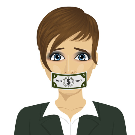 young corrupt woman with a dollar bill taped to mouth. Bribery concept in politics, business, diplomacy.