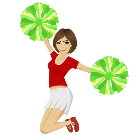 pom: young beautiful cheerleader girl jumping with pom poms wearing red uniform over white background Illustration