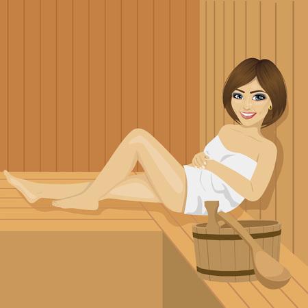 Beautiful woman having a sauna bath in a steam room