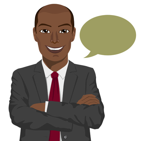 folded arms: young african american businessman with arms folded and speech bubble smiling Illustration