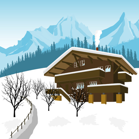 traditional alpine chalet in the mountains of the Alps Illustration