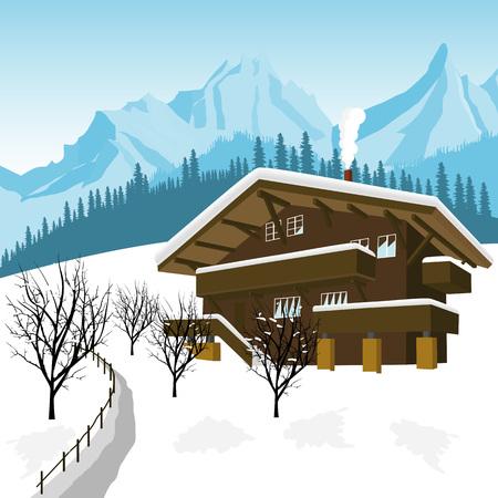 traditionele alpine chalet in de bergen van de Alpen