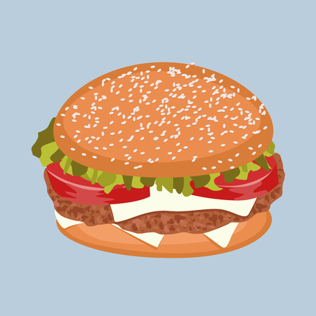 classic burger with meat, tomato, lettuce and cheese on blue background