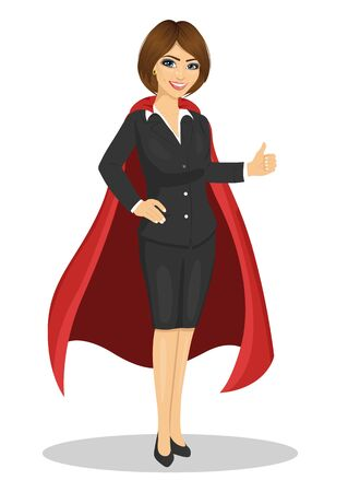 young businesswoman wearing superhero costume showing thumbs up over white background