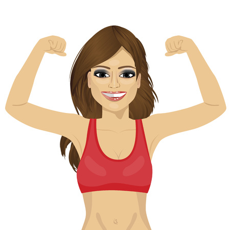 Girl showing her muscles. Fit fitness strenght health hobby concept over white background