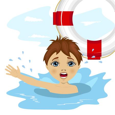 jonge jongen schreeuwen in het water, terwijl iemand gooit een ring boei reddingsboei