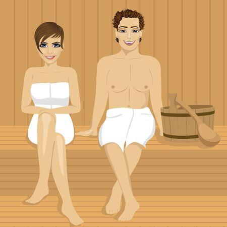 glückliches Paar zusammen in der Holzsauna entspannen