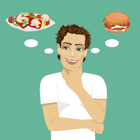 choosing: young man choosing between hamburger and salad. Healthy and junk food concept over blue background Illustration