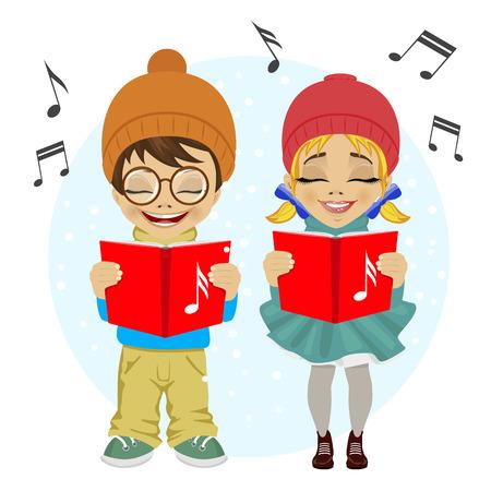 caroling: little boy and girl singing Christmas carols. Vector illustration on white background.