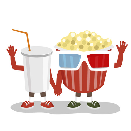 animated film: cinema pop corn with 3d glasses and cola character friends holding hands together and waving over white background