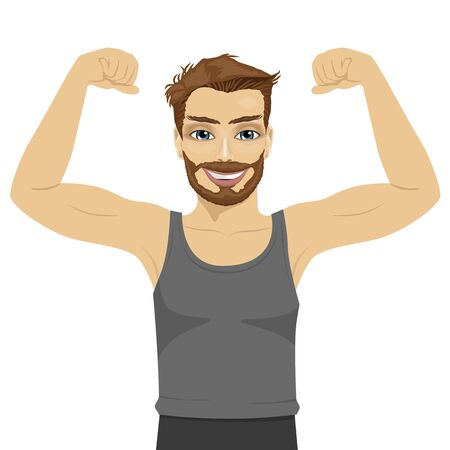strenght: Young man showing his muscles. Fit fitness strenght health hobby concept over white background