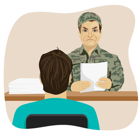 conscripts: Army conscript during an interview on the results of the tests, a collection point Illustration