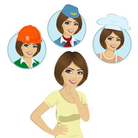 choosing: young girl thinking about career options choice like stewardess, chef, worker. Illustration over white background