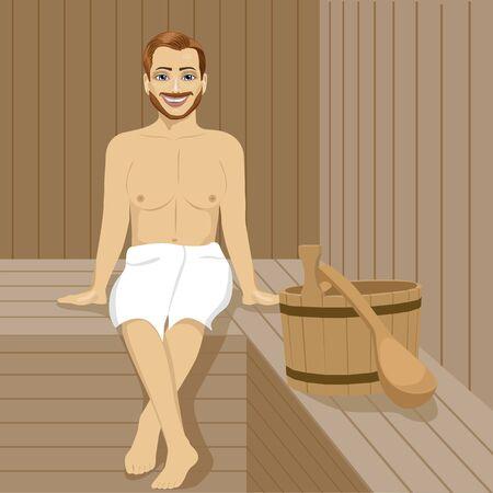 Handsome man having sauna bath in a steam room