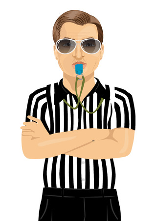 arms folded: referee with sunglasses blowing whistle standing with arms folded over white background