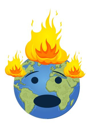 Burning planet Earth. Global warming concept over white background