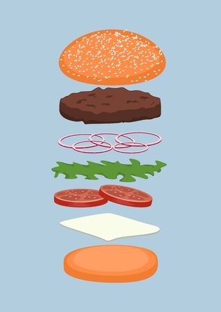 burger with various additions for customization isolated over blue background
