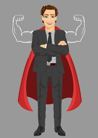 arms folded: young businessman wearing superhero costume with arms folded showing muscles Illustration