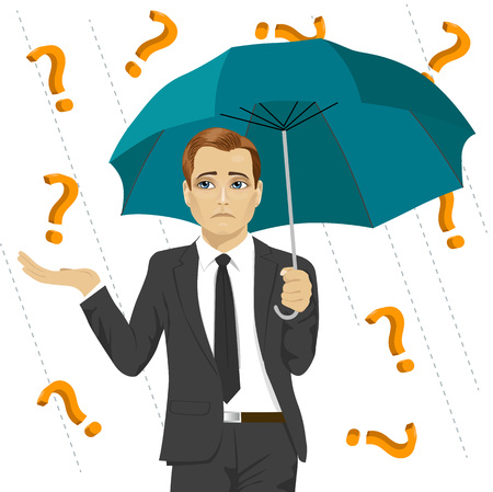 sad businessman hiding from question marks with an umbrella