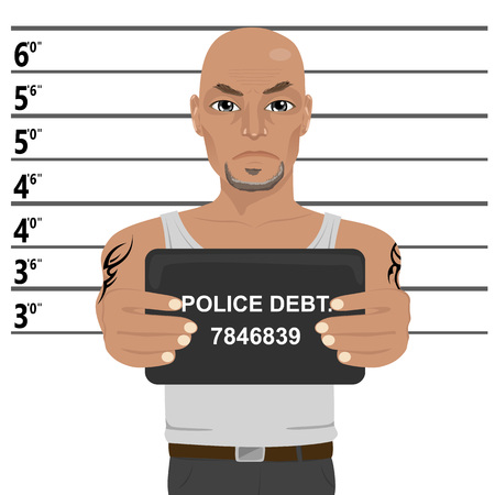 Latino gangster with tattoos holding a mugshot