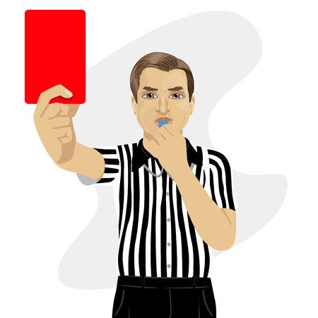 volwassen scheidsrechter toont een rode kaart waarschuwing blazen fluitje