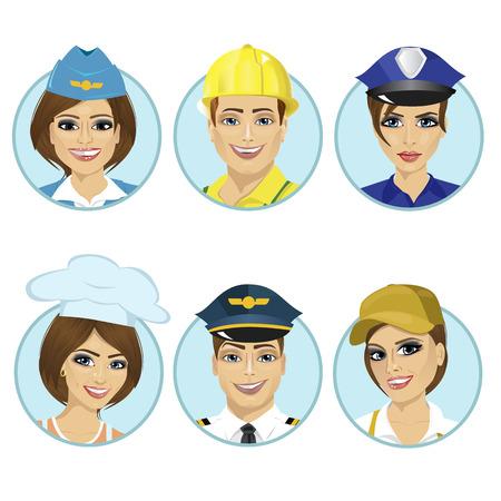 policewoman: Conjunto de avatares, hombre, azafata, policía, cocinero, piloto aislado en un fondo blanco que trabajan. Colección ronda el avatar.