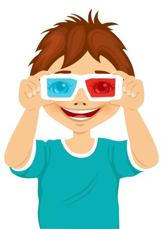trying: smiling little boy trying on 3d glasses over white background