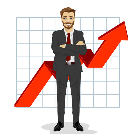 arms folded: successful business man with arms folded. Financial success bar graph growing up