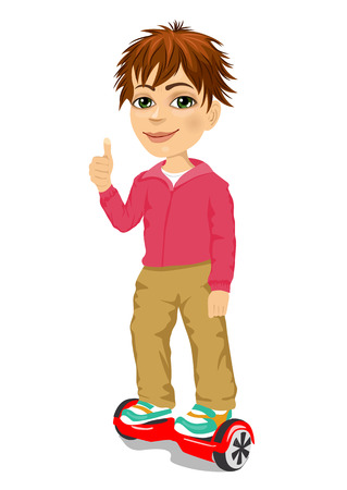 adolescent: happy teenager boy riding gyroscooter and giving thumbs up - eco transport, hoverboard, smart balance wheel Illustration