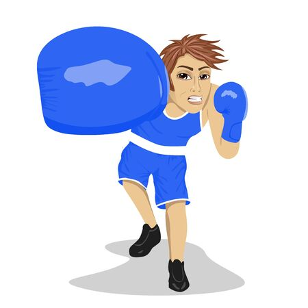 punching: Boxing boxer. Young man with boxing gloves hitting and punching looking angry Illustration