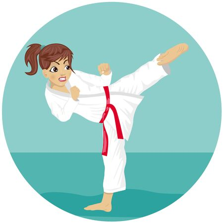 adolescent: Young teenager red belt karate girl in kimono practicing kick exercise Illustration