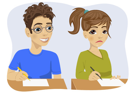 copying: young teenager boy with glasses copying his classmate girl on exam