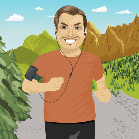 armband: mature man jogging in mountains with smartphone armband listening to music playlist on mobile phone app Illustration