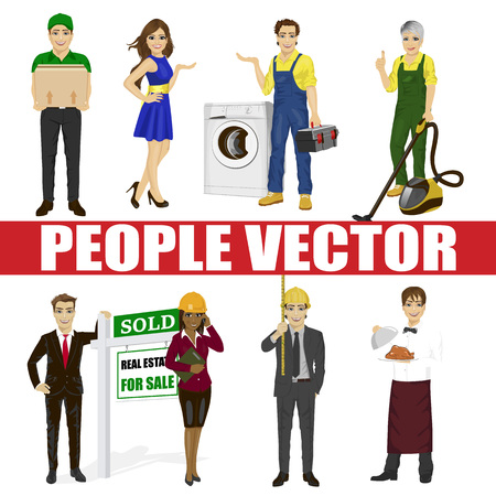 Set of diverse people. Various professions. Courier, fair hostesses, repairman, vacuum cleaner, real estate agent, architect, waiter